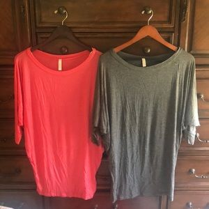 Lot of 2 Love In dolman tops gray and pink M/L